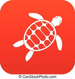 Turtle icon digital red