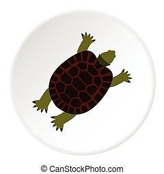 Turtle icon, flat style