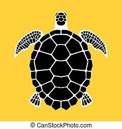 Turtle icon, symbol - Sea turtle on yellow background,...