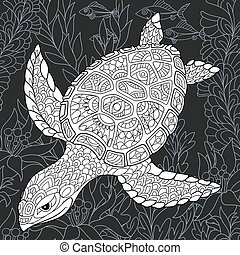 Turtle in black and white style