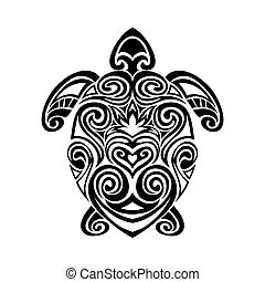 turtle in maori tattoo style. - Decorative turtle in maori...
