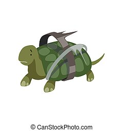 Turtle in plastic waste, global environmental problem, ecological disaster vector Illustration on a white background