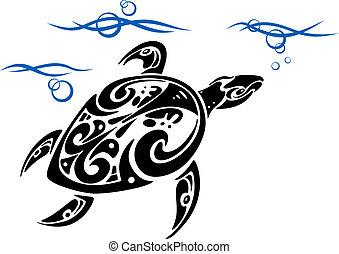 Turtle in sea water - Turtle in ocean water for tattoo...