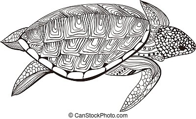Turtle in zentangle zenart doodle style, isolated on white background. Hand drawn sketch for adult antistress coloring page, logo or tattoo with doodle, zen, line and dot design elements.