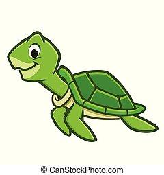turtle, karikatur, meer