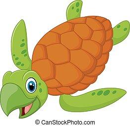 turtle, lächeln, karikatur