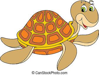 Turtle - marine turtle swimming