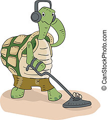Illustration of a Cute Turtle Scanning the Ground with a Metal Detector