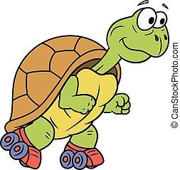 Turtle on roller skates - Illustration of the smiling funny...