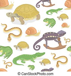 turtle, reptil, chamäleon, muster, seamless, krokodil, vektor, amphibie, hintergrund., weißes, schlange