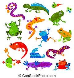 turtle, reptil, satz, hintergrund, chamäleon, haustier, reptilisch, zeichen, freigestellt, frosch, drache eidechse, vektor, froggy, abbildung, tier, amphibie, weißes, varan, leguan
