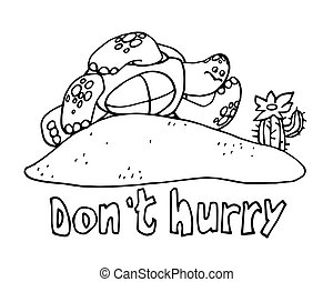 turtle resting on the sand with a cactus, the concept of vacation, procrastination, laziness, vector illustration with black contour lines isolated on a white background in a doodle & hand drawn style