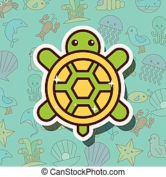 turtle sea life cartoon