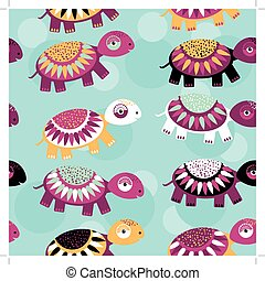 turtle Seamless pattern with funny cute animal on a blue background
