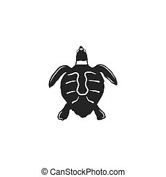 turtle silhouette shape. Wild animal black icon. Stock vector illustration. Vintage hand drawn style. Retro desgign