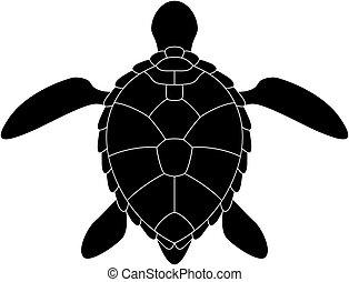 turtle., stylizowany, sylwetka
