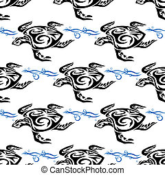 Turtle swimming in the sea seamless pattern