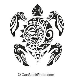 Turtle tattoo in Maori style. Vector illustration EPS10