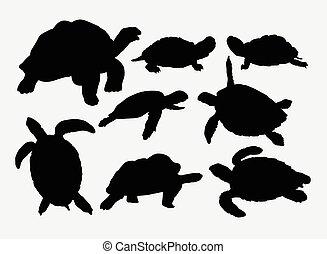Turtle, tortoise animal silhouettes