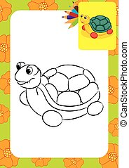 Turtle toy. Coloring page