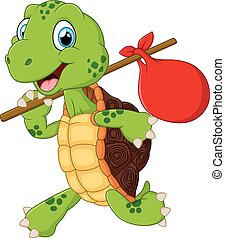Turtle traveling cartoon - vector illustration of Turtle...