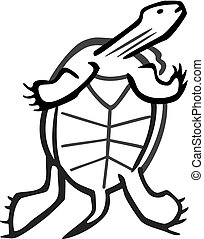 Turtle - turtle illustration, swimming up view of the belly