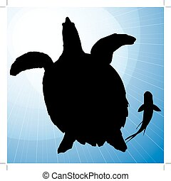Turtle Vector Silhouettes with Fish