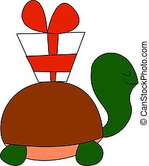 Turtle with a gift, illustration, vector on white background