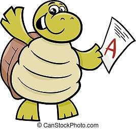 turtle with a mark cartoon illustration