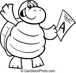 turtle with a mark coloring page