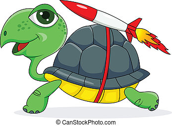 Turtle with a rocket - Vector illustration of Turtle with a...