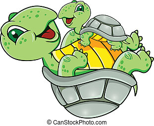 Turtle with baby - Vector illustration of turtle with baby