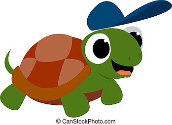 Turtle with blue hat, illustration, vector on white background.