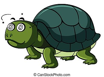 Turtle with dizzy face on white background