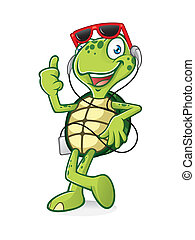 Turtle with Earphone - turtle is standing relaxed listening...