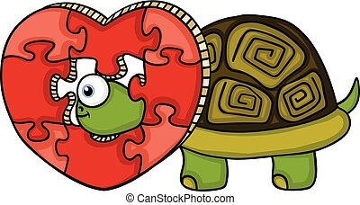 Turtle with heart shaped puzzle