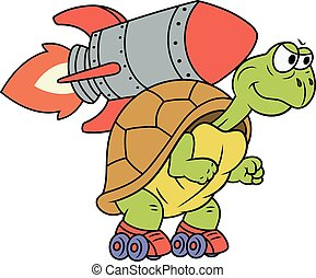 Turtle with rocket - Illustration of the funny turtle on...