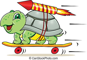 Funny little turtle using four wheels and rocket to gain speed