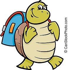 turtle with satchel cartoon illustration - Cartoon...