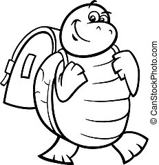 turtle with satchel coloring page