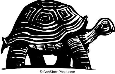 Turtle - Woodcut style turtle or tortoise wandering around.