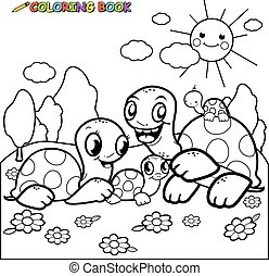 Turtles in the garden. Black and white coloring page