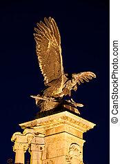 Turul Bird Statue at Night in Budapest