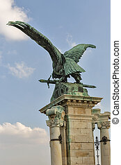 Turul eagle near Buda Palace entrance gate. Budapest, Hungary