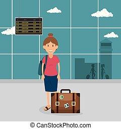 turysta, kobieta, z, walizka, w, przedimek określony przed rzeczownikami, lotnisko