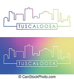 Tuscaloosa skyline. Colorful linear style.