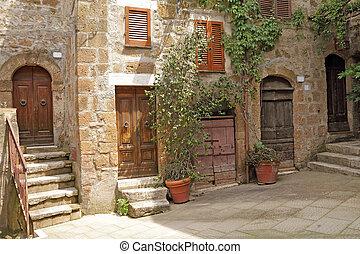 tuscan, イタリア語, 庭, 村