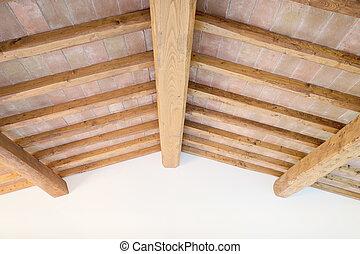 tuscan, 傳統, 木頭, 橫樑, 天花板, 紅色, 磚, wall., italy