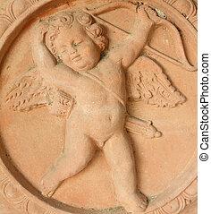tuscan, 刻まれた, terracotta, キューピッド, 弓, 矢