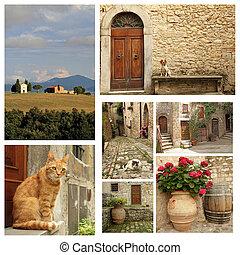 tuscan, 国, ライフスタイル, コラージュ